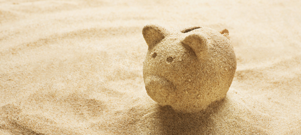 Sparschwein aus Sand