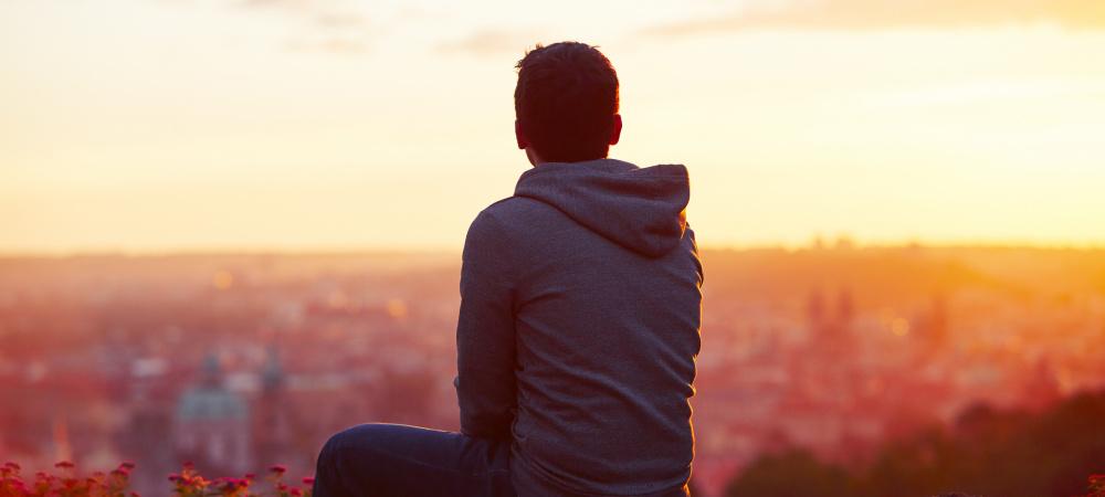 Mann Sonnenaufgang