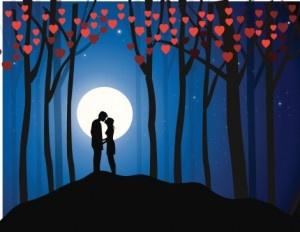 Kuss im Mondschein