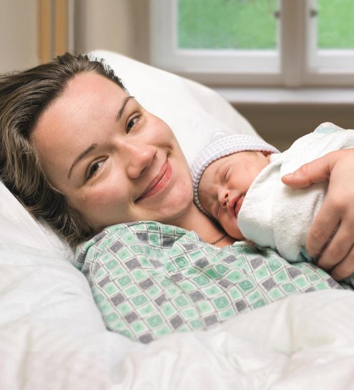 Frau mit Baby