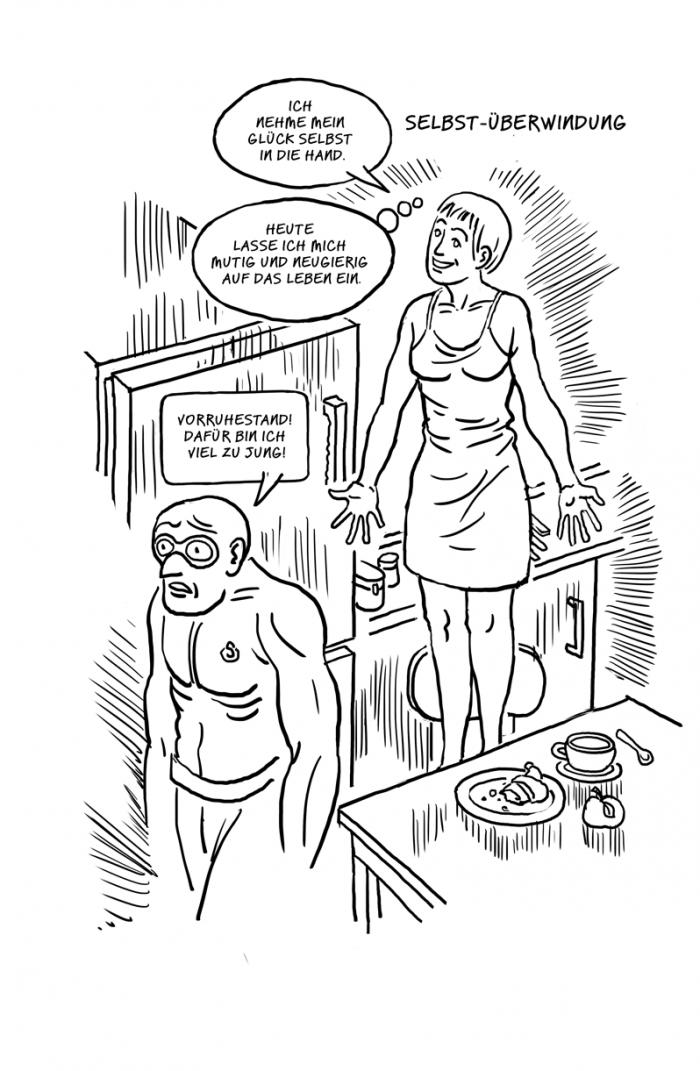 Comic zu Selbstüberwindung