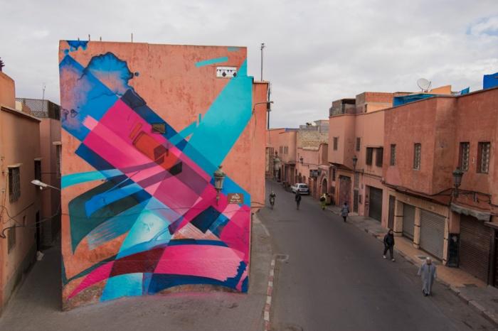 Von MadC bemalte Häuserwand in Marrakesch