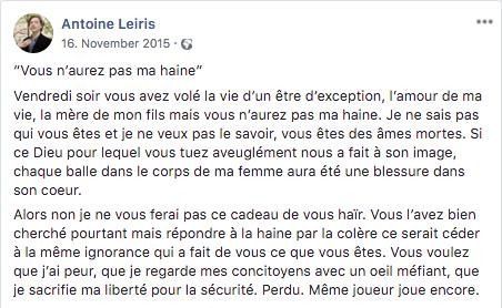 Antoine Leiris offener Brief