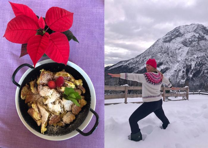 Yoga in den Bergen: Frau macht Krieger im Schnee