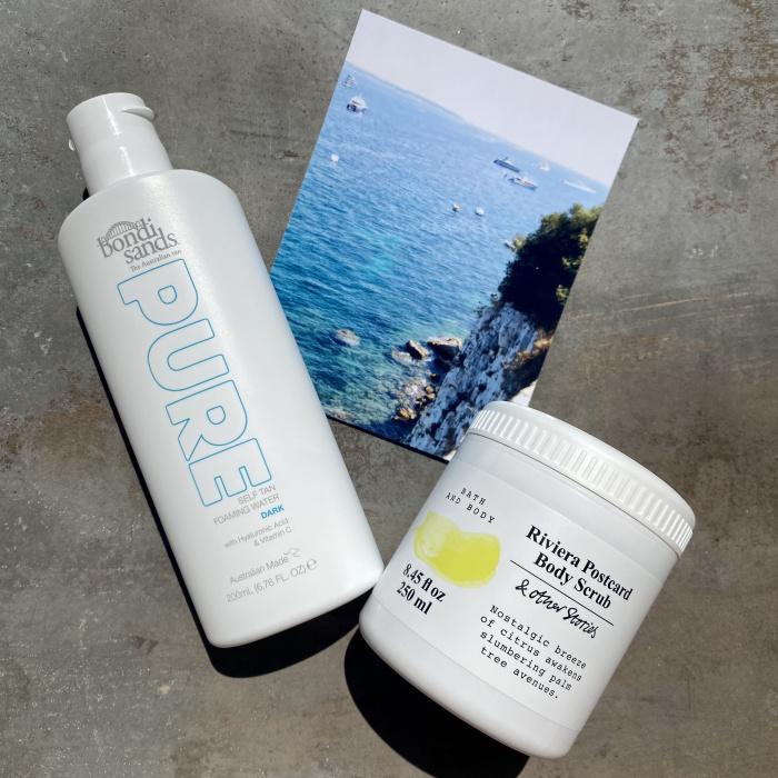 & Other Stories Riviera Post Card Body Scrub, Bondi Sands Pure Self Tan Foaming Water Dark