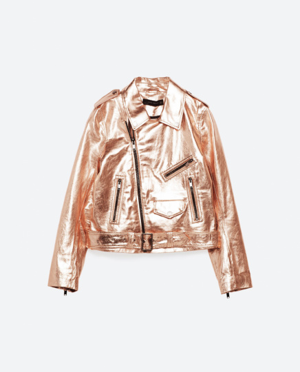 Metallic-Lederjacke von Zara