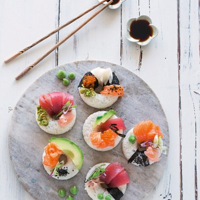 Dreierlei-Sushi-Donuts
