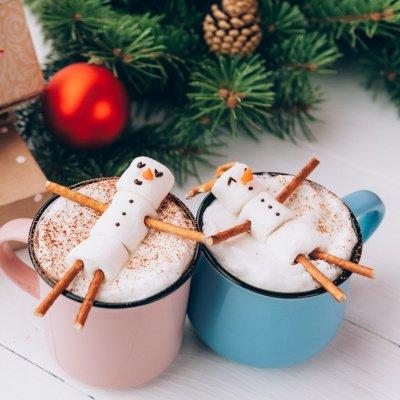 Weihnachten entspannen: Marshmallowmännchen