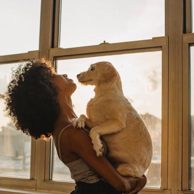 Frau steht am Fenster mit Hund auf dem Arm